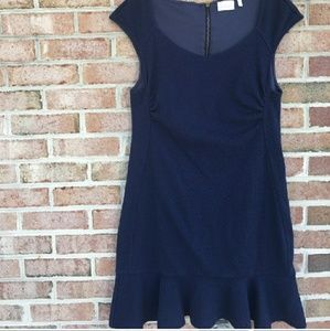 Anthropologie navy flounce hem dress